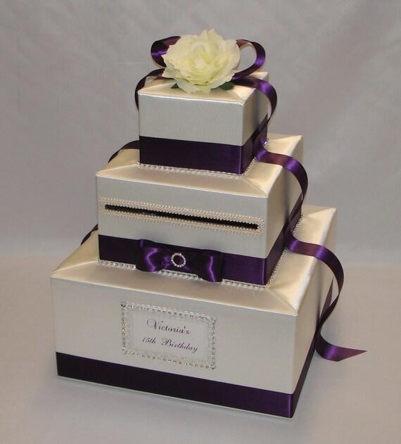 Elegant Custom Made Wedding Card Box-Ivory And Eggplant