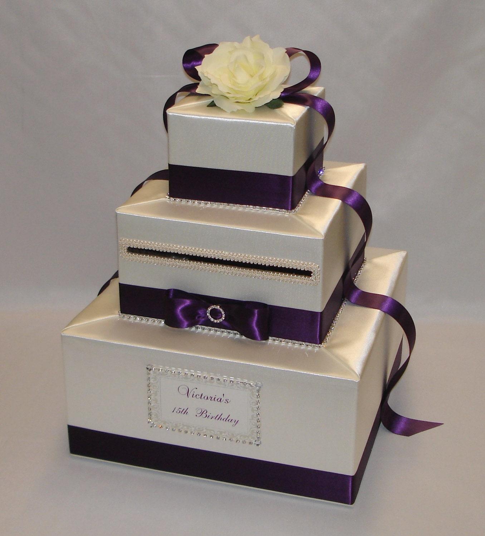Wedding Card Box: Elegant Custom Made Wedding Card Box-Ivory And Eggplant