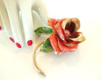Vintage Enameled Brooch Rose Flower Persimmon Pearl Gold 50's (item 216)