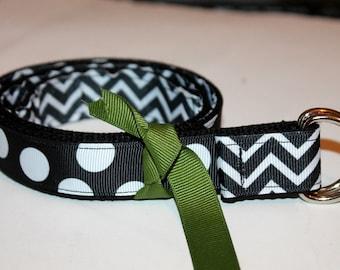Ladies Belt Reversible Belt Ladies Black Chevron Belt Polka Dots Belt Teens Ribbon Belt Teen Girl Gift Black Ribbon Belt Two Sided Belt