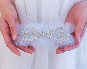 Rhinestone Wedding Garter Belt- Soft Blue tulle, rhinestones, Blue Garter Belt, Pink, Champagne, Pale Blue, Black, Ivory garter