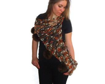 Summer Sweater - Pompom sweater - Handknit Loose Sweater -  Tank,Vest - lacy knit top