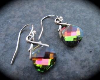 SALE Swarovski Vitrail Medium Briolette earrings Sterling Silver Earrings Rainbow colors pink green blue Wedding Jewelry Prom Jewelry
