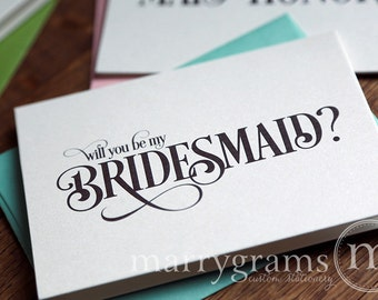 Will You Be My Bridesmaid Cards - Maid of Honor, Flower Girl, House Party, Wedding Attendant - Cute Card to Ask Girls - CS06 (Set of 6)