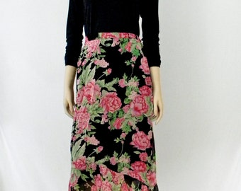 Floral Chiffon Skirt with Petal Ruffle, Pink Cabbage Roses on Black, Full Black Lining, Size 14
