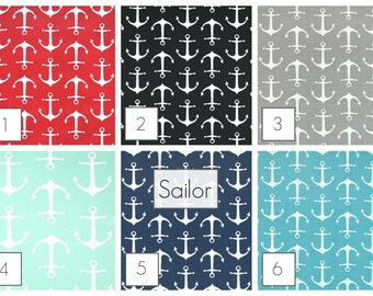 Sailor Anchors Curtains. Pair of Two 63, 84, 96, 108, 120 Length. Red, Blue, Gray, Black, Mint Window Treatments. Drapery Curtains.