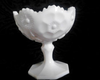 Vintage Milk Glass Compote with Floral Design with Jagged, Scalloped Edge - Wedding Decor Centerpiece