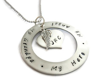 Grandpa Memorial Necklace, Hand Stamped for Women or Men with angel wing and personalized initials