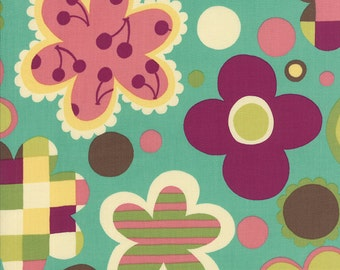 CLEARANCE - Aqua, Purple, and Pink Floral Fabric - Avant Garden by Momo from Moda - 1/2 Yard