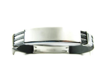 Personalized Jewelry Custom Engraved Black Rubber and Stainless Steel  Double Cable  ID Bracelet  - Hand Engraved