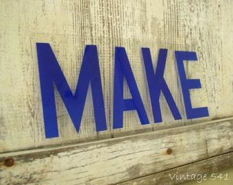Vintage Sign Letters MAKE Blue Acrylic Plastic Letters