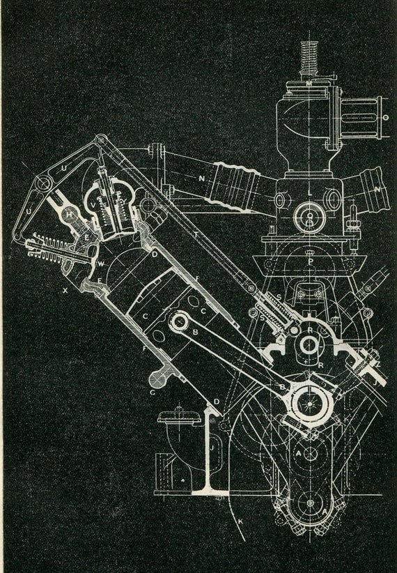 Mechanical engineering drawing wolseley engine 120 hp 8 for Where to print blueprints