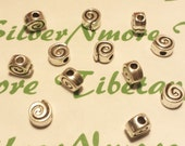 12 pcs per pack 8mm 6mm thickness Reversible Swirl Honey Bun large hole Beads Antique Silver Lead Free Pewter