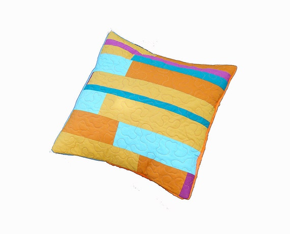 Modern Quilted Pillow Covers : Quilted cushion cover modern pillow pillow case quilted
