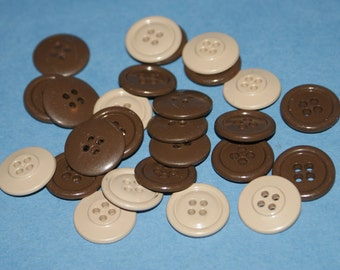 25 Tan Brown and Tan Mix  Four Hole Buttons  7/8 Lot 940