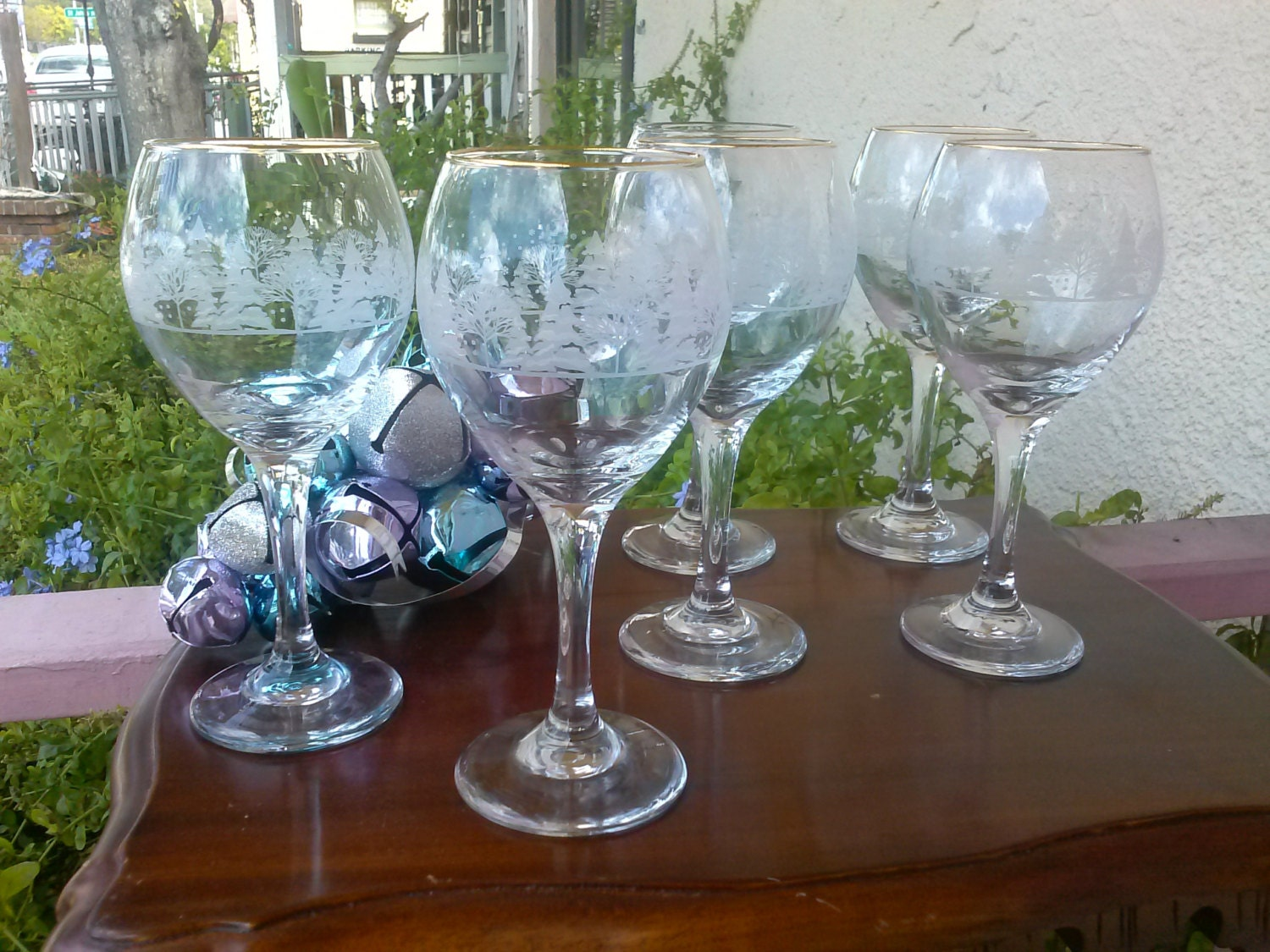 Vintage Libbey Christmas Tree Wine Glasses Goblets Glassware