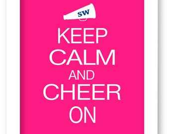 Keep Calm and Cheer On, Personalized Cheerleader Gift, Initials, Cheerleading Gift