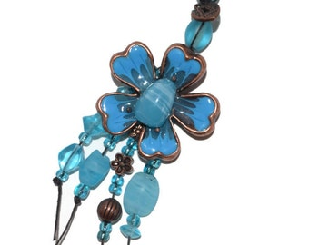OOAK Gifts for Her Torquoise Enamel Dogwood Flower Beaded Keychain or Purse Jewelry
