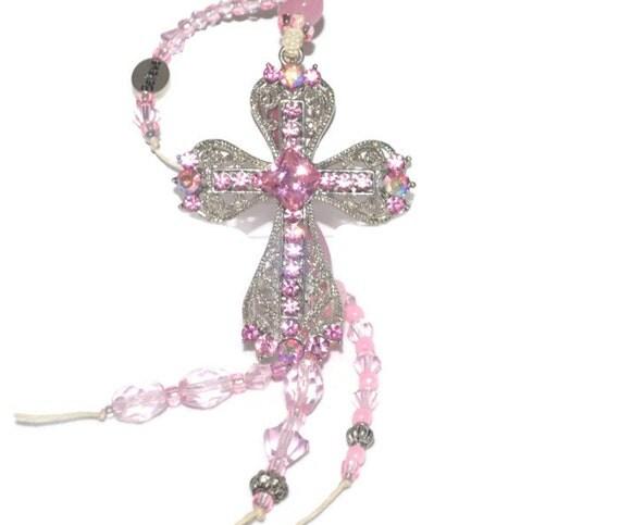 CROSS Pink OOAK Spring  Silver 'n Pink Swavroski Crystal