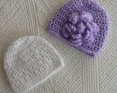 Lavender and White Hat Set, Crochet Baby Hats, Newborn Beanies, Lavender Hat, White Baby Hat, Crochet Baby Beanie