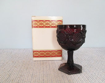 Blood Red 1876 Cape Cod Water Goblet Garnet Ruby Red Glass Goblet