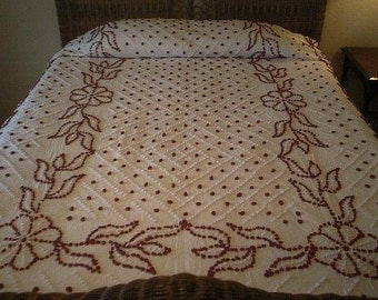 SALE - Pretty Handmade RED and WHITE Flowers, Leaves, Diamonds and Pops Vintage Chenille Bedspread - Free Shipping