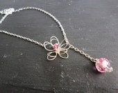Pink Flower Necklace Lariat Wire Wrapped Jewelry
