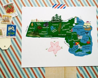 "Massachusetts Illustrated 8""x10"" Map"
