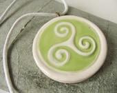 Ceramic Pottery Triskelion Round Artisan Pendant Necklace - Triskele - Green White - Celtic - Triple Goddess