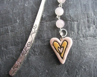 Handmade Ceramic Heart Beaded Bookmark, Rose Quartz Bookmark, Heart Page Marker, Book Lover Gifts, Heart Gifts, Book Accessories , Reading