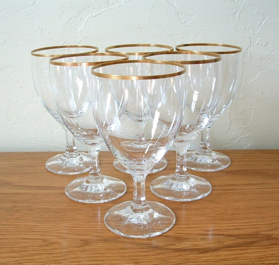 Reserved vintage gold rim wine glasses crystal set of 6 goblet - Lenox gold rimmed wine glasses ...