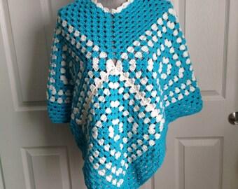 Vintage blue and white granny squares shawl poncho small medium large