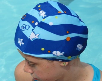 Lycra SWiM CaP - LITTLE FISHY - Sizes - Baby , Child , Adult , XL - Made from Spandex / Swimsuit Swimming Fabric -by Froggie's Swim Caps