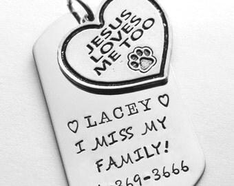 Pet Tag - Personalized pet tag - Jesus Loves Me - Religious dog tag - Cross pet tag - Religious cat tag