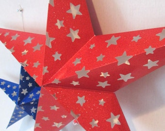 4th of July GIANT Hanging or Standing Glitter Stars Fourth of July Stars Red and Blue Stars Perfect for 4th of July or Independence Day