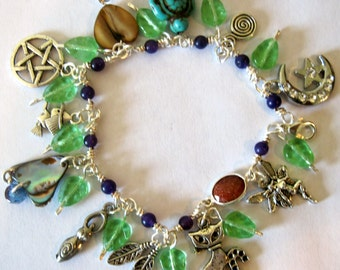 """Witchy Wiccan Magical Charm Bracelet Silver Tone 7.5"""" Wicca Witch Magic Fairy Handmade Amethyst"""