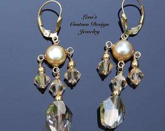 Champagne freshwater pearl Swarovski crystal gold filled lever back earrings