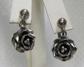 Vintage Taxco Sterling Rose Screw Back Earrings