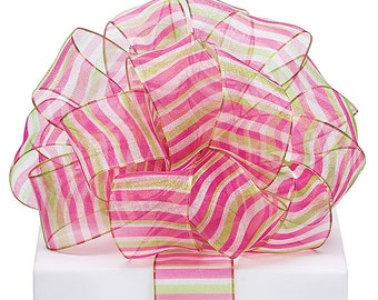"5yds x 1-1/2"" Sheer Wired Ribbon Shaded Striped Fuchsia Pink & Lime Green"