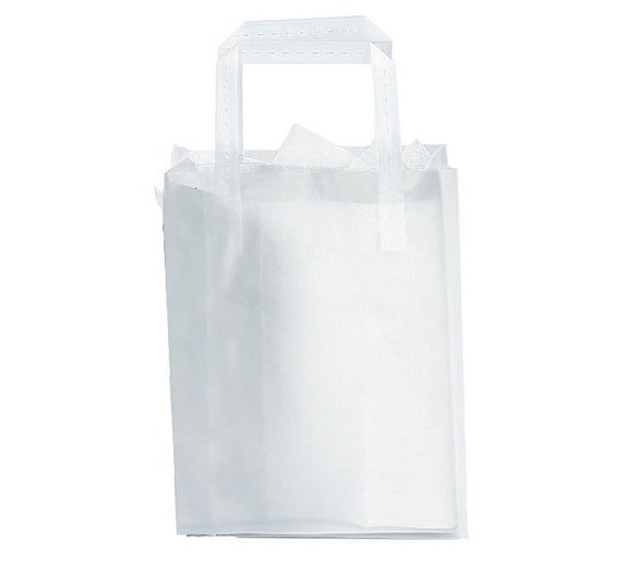 12 Plastic Clear Plain Frosted Retail Gift Bags Totes With