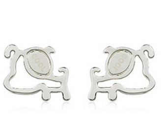 Little Puppy Silver Plated stud Earring