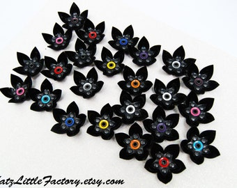 Pair Cyber Flower Hair Clips - Black with Pink, Blue, Red, Yellow, Orange, Purple, Silver, White, Others Mixed Listing