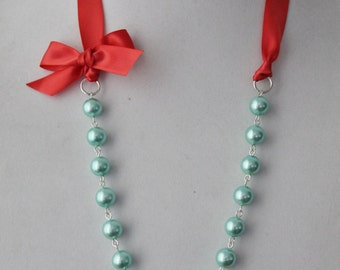 Turquoise Pearl and Guava Ribbon Bow Necklace