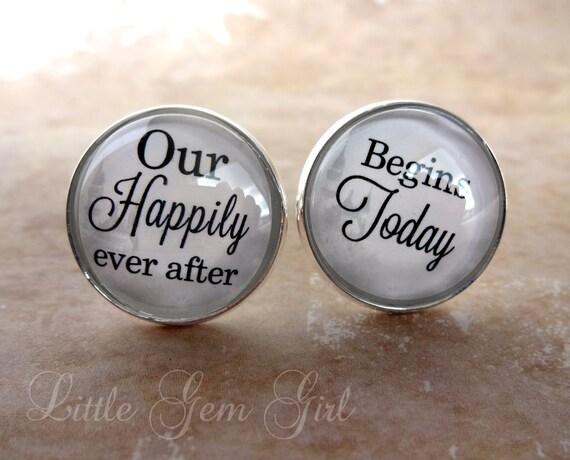 wedding cufflinks groom cufflinks our happily by littlegemgirl