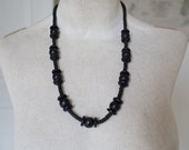 Vintage Wooden Necklace - Large Black Statement Necklace Vintage Necklace