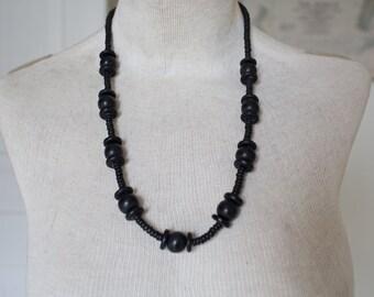 Vintage Wooden Necklace - Large Black Statement Necklace Vintage Necklace