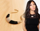 Black Collar Necklace, Gold Necklace, Gold Collar Necklace, Bib Necklace