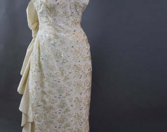 Vintage Bridal Gown with Aurora Borealis Beading and Fishtail Hem