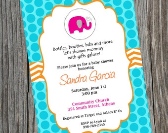 Pink Elephant Baby Shower Invitation.  Printable Baby Chevron Elephant Shower Invitation.  Girl or boy baby shower Invitation.