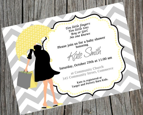 Printable Chevron Modern Mom Baby Shower Invitation.  Chic Umbrella Mom Baby Shower Invite. Gender Neutral Baby Shower Invite.